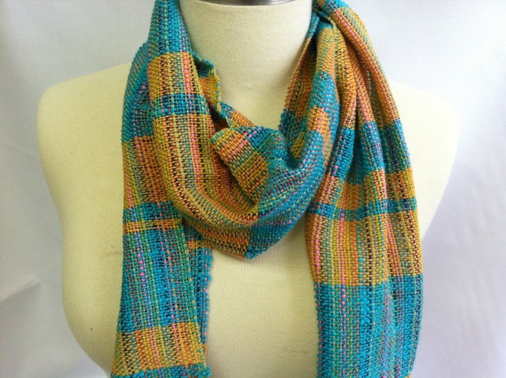 Scarf Hand Woven Teal and Mustard Stripe