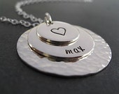 Personalized Mother's Jewelry - Hand Stamped Necklace - Sterling Silver - Mom Jewelry - Layered Discs