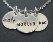 Personalized Family Necklace - Hand Stamped Jewelry - Mom Name Charms  or Tags