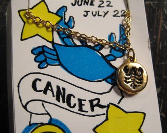Cancer zodiac necklace  on groovy 1970's gift card