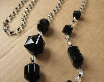 Glass jet crystal bead necklace Art Deco