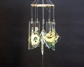 Small Single--Tier Painted  Sunflowers Glass Windchime