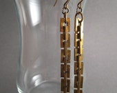 recycled vintage earrings. brass columns