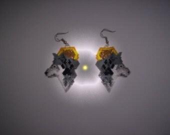 Brick Stitch Wolf/Paw/Moon Delica Seed Beading Dangle PDF E-File Earring Pattern-122