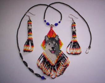 Brick Stitch Smiling Gray Wolf in Flames Delica Seed Beading PDF E-File Pendant Pattern-155