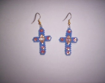 Sculpted Brick Stitch Cross Delica Seed Beading PDF E-File Earring Pattern-6