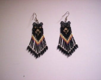Brick Stitch Black Bear Delica Seed Beading Fringe PDF E-File Earring Pattern-110
