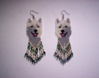 Brick Stitch White / Arctic Wolf Delica Seed Beading Dangle Earring PDF E-File Pattern-146