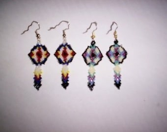 Brick Stitch Feather Shield  Delica Seed Beading Dangle PDF E-File Earring Pattern-30