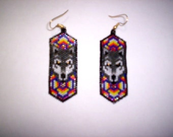 Vertical Brick /Peyote Stitch Wolf Delica Seed Beading PDF E-File Dangle Earring Pattern-198