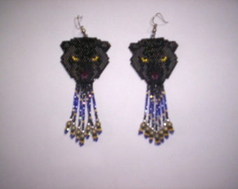 Brick Stitch Black Panther Delica Seed Beading Dangle PDF E-File Earring or Pendant Pattern-189