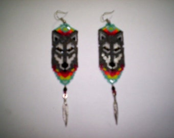 Vertical/Peyote/Brick Stitch Wolf Feather Delica Seed Beading Dangle Earring PDF E-File Pattern-213