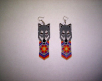 Vertical Brick/Peyote Stitch Wolf Feather Burst Delica Seed Beading Earring PDF E-File Pattern-217