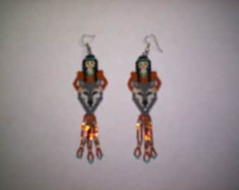 Brick Stitch Maiden With Wolf  Seed Beading Dangle PDF E-File Earring Pattern-239
