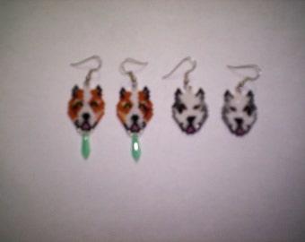 2 Brick Stitch Pit Bull Dog  Seed Beading Dangle PDF E-File Earring Patterns-250