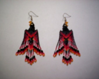 Brick Stitch Raven / Crow  Seed Beading  PDF E-File Fringe Earring Patterns-266
