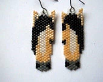 Vertical Brick/Peyote Stitch Horse Delica Seed Beading Dangle Earring PDF E-File Patterns-112