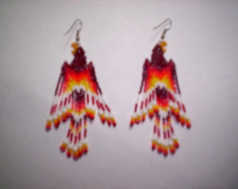 Brick Stitch Fire Bird/Phoenix Seed Beading  PDF E-File Fringe Earring Pattern-265
