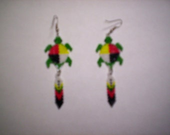 Brick Stitch Medicine Wheel /Turtle 2 Seed Beading With Feather Dangle PDF E-File Earring Pattern-273