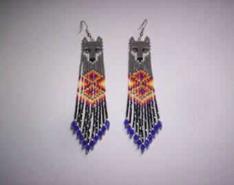 Brick Stitch Wolf Delica Seed Beading Double Diamonds PDF-E-File Fringe Earring Pattern-160