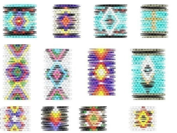 12 Brick Stitch Cylinder/Tube Delica Seed Beading PDF E-File Earring Patterns-116