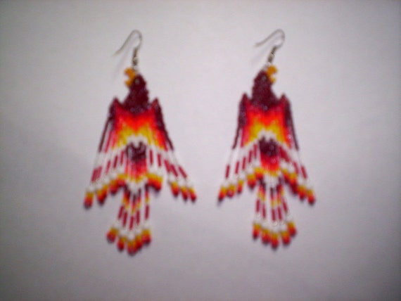 Brick Stitch Fire Bird/Phoenix Seed Beading  PDF E-File Fringe Earring Pattern-265