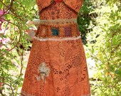 Woodland Fairy Princess Dress with Flower Crown, Boho Gypsy, Country, Cowgirl, Indie, Hippie, Cotton Slip Dress, Upcycled, Medium