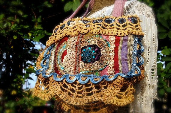Dazzling Jewel-Toned Fabric Handbag with Sparkling Brooch --- Antique Fabrics, Velvet and Lace