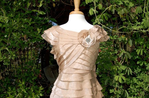 French Shabby Chic Champagne Shimmer Romantic, tattered, tiered Spring Ruffle Dress, Bridesmaid Dress, Reconstructed, Large