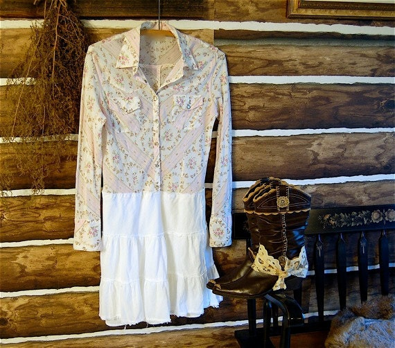 Upcycled clothing under 25, Country Shirt Dress, Pearl Snap Western Shirt, Cowgirl, Barn Dance, Shabby Chic Pink, Tattered Mini Dress, Small