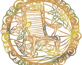 Rocking Chair, Kiri-e Japanese paper-cut style prints (set of 6 greeting cards)