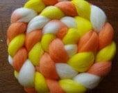 SALE Candy Corn Spinning Fiber Corriedale Spinning FIber
