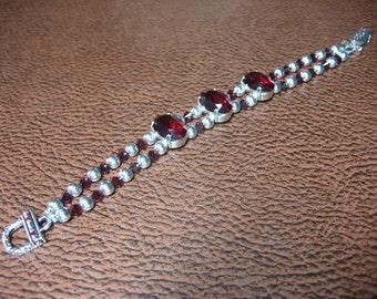 Hearts Fire Silver and Garnet Bracelet with Swarovski Rhinestones