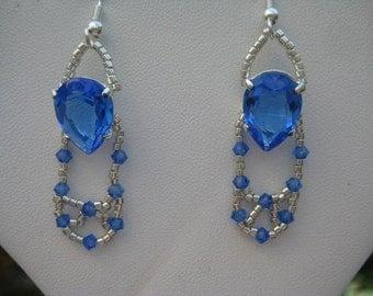14x10mm Sapphire Pear Shaped  Swarovski Pierced Wire Earrings Designed by ME