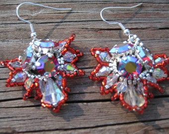 Firebird  Pierced Wire Earrings Designed by ME in the French Style