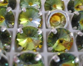 Lot of 4 11mm Golden Sahara Rivoli Shaped Swarovski Rhinestones in Sew on Settings