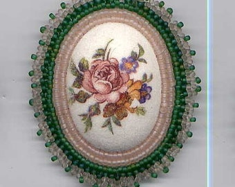 Sugar Crystal Topped Plastic Cabochon Seed Bead Surround Pin