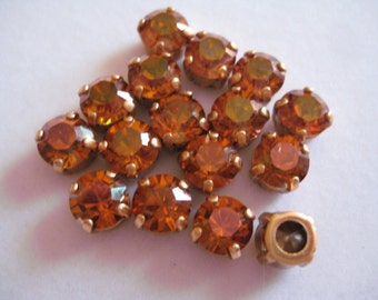 Lot of 6 8mm Crystal Copper Swarovski Chaton Cut Rhinestones in Brass Sew On settings