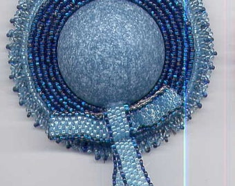 Shades of Blue Woven Seed Bead Hat Pin with Blue Ribbon