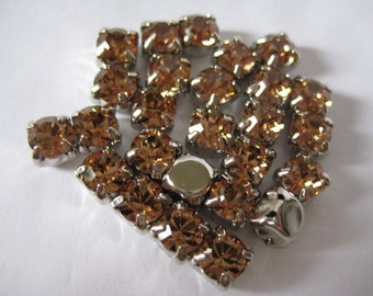 Lot of 6 6mm Light Colorado Topaz Swarovski Chaton Cut Rhinestones in Sew On settings