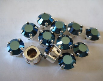 Lot of 6 8mm Crystal Metallic Blue Swarovski Chaton cut rhinestones in Sew On settings