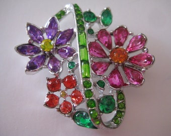 Exquisite Floral Brooch Hand Painted in the style of Tom Binns