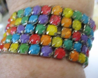 One of the Five Rainbow Rhinestone Bracelet  Hand Painted in the style of Tom Binns