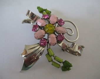 Colorful Vintage Rhodium Plated Floral  Brooch Hand Painted in the style of Tom Binns