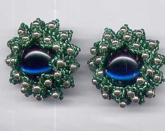 Chrysanthemum Flower in Green Pierced Post Earrings Handmade by ME