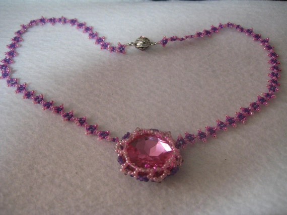 Pink Passion Necklace Handmade of Seed Beads and Acrylic Rhinestone