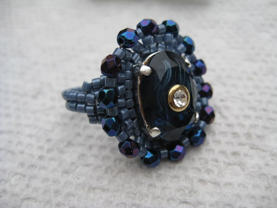 Blue Agate Rhinestone with Crystal Center Beaded Ring by ME Size 9