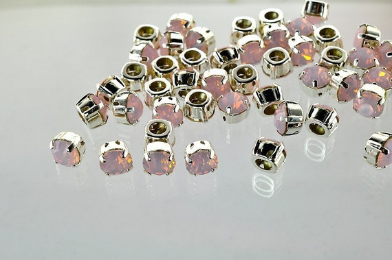 Lot of 6 8mm Rose Water Opal Swarovski Chaton cut rhinestones in Sew On settings
