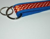 Blue with Orange Polka Dot Key Fab