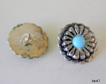 12 Turquoise/Silver Buttons